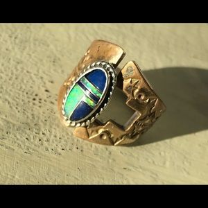 Sterling Opal/Lapis Handmade Vintage Ring Adjusts